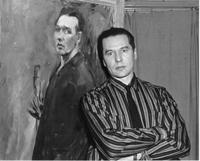 Getz in front of self-portrait, 1950